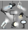 spotlight light show studio with spot lamps vector image