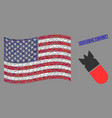 usa flag collage aviation bomb and grunge vector image vector image