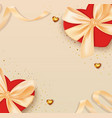 valentines day background with bow and ribbon vector image vector image