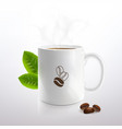white cup with hot coffee vector image vector image