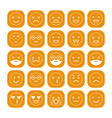 White linear flat icons of emoticons on orange vector image