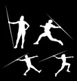 white silhouette of man that throws a spear vector image
