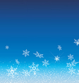 White snowflakes fly on a blue background vector image vector image