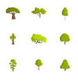 wood icons set cartoon style vector image