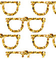 gold glasses seamless pattern on white backgroung vector image