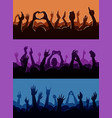 human fan hands silhouette on music concert vector image