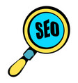 magnifying glass with text seo icon icon cartoon vector image