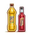 2 yellow and red bottles with palm oil vector image vector image
