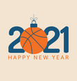 2021 happy new year flat style sports greeting vector image vector image
