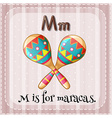 A letter M for maracas vector image vector image
