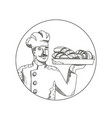 baker holding bread on plate doodle art vector image vector image