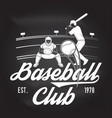 baseball or softball club badge on chalkboard vector image vector image
