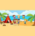 beach scene with many kids doodle cartoon vector image vector image