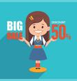 big sale bannerdiscount 50girl character in suit vector image vector image
