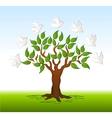 birds over a tree background vector image vector image