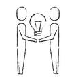 businessmen holding bulb creativity work team vector image vector image