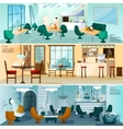 Cafe Restaurant Interior Flat Banners Set vector image vector image