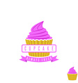 Cake shop logo sweet cupcake with pink cream and vector image vector image