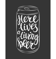 can of beer lettering vector image vector image