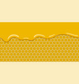 cartoon yellow pattern with honeycomb and sweet vector image