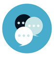 chat bubbles icon on round blue background vector image