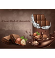 chocolate with hazelnut ad poster banner vector image vector image