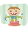 cute baby celebrating birthday vector image