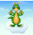 cute cartoon green dragon giving thumbs up on the vector image
