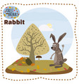 cute rabbit on a background of a landscape with vector image