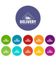 delivery truck icons set color vector image vector image