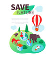 eco living - modern colorful isometric web banner vector image