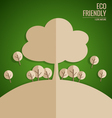 Ecology concept Paper cut of tree on green vector image vector image