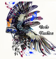 fashion with indian head dress and ink spots boho vector image