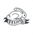 follow white rabbit tattoo sketch doodle vector image vector image