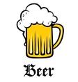 glass pint tankard golden frothy beer vector image