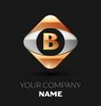 golden letter b logo in the golden-silver square vector image