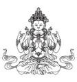 hand-drawn sitting buddha meditating in lotus pose vector image vector image