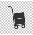 Hand truck sign Dark gray icon on transparent vector image vector image