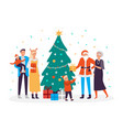happy family decorates christmas tree holiday vector image