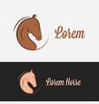 horse logo silhouette on black and white vector image