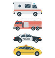 isolated transport icons police car ambulance vector image