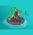 isometry is an island of mermaids in the sea sire vector image vector image