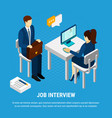 job interview isometric background vector image vector image