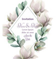 magnolia flowers with glitter frame vector image vector image