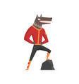 man with wolf head fashion animal character vector image vector image