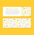 natural juice horizontal banner template with text vector image vector image