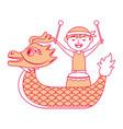 orange dragon man with drum festival chines vector image