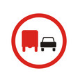 overtaking to lorries is prohibited sign vector image vector image