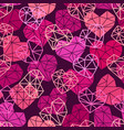 pattern with polygonal flat heart symbols vector image vector image
