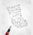 Pen line drawing christmas tree toy socks